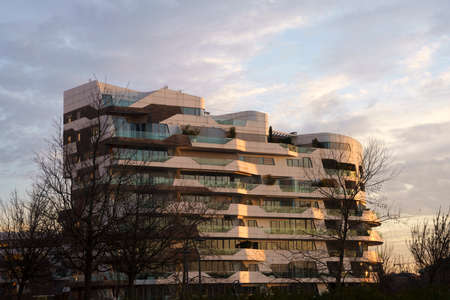 Milan, Lombardy Italy: the modern Citylife park. The residential Hadid buildings at sunset