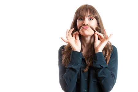 frisky: Pretty Female Model Making Fake Mustache With Long Hair