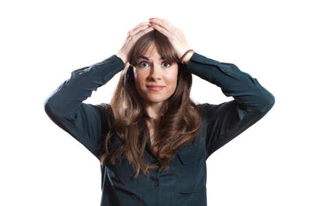 disheartened: Frustrated Female Model Hands On Head Isolated White Background Stock Photo