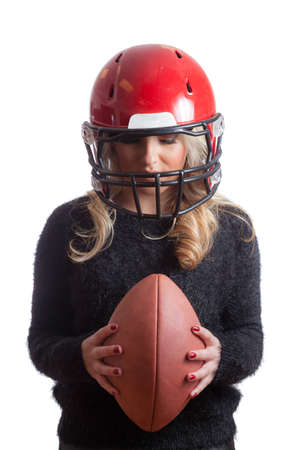facemask: Pretty Blonde Girl Red Helmet Holding Football Isolated Background