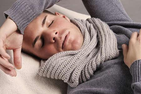 Portrait of a beautiful sleeping man Stock Photo