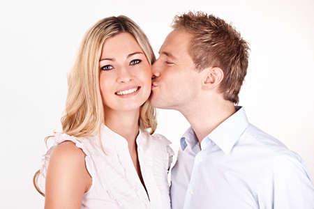 happy couple kissing Stock Photo