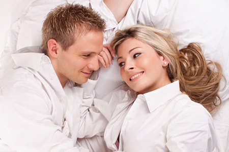 bedcover: Happy couple