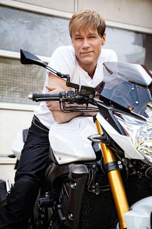 Motorcyclist biker Stock Photo