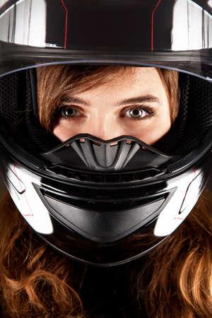 Closeup Portrait beautyful woman with helmet photo