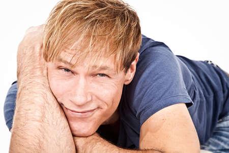 Portrait attractive middelaged man against white background Stock Photo