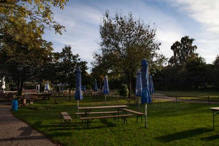 Empty beer garden in autumn