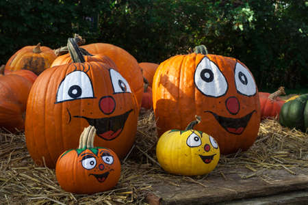 Smiling Halloween faces pumpkins Standard-Bild
