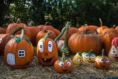 Smiling Halloween faces pumpkins Stock Photo