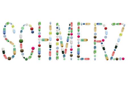 Medicine Pills, Colorful Tablets, Letters Word Text Standard-Bild