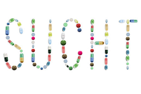 Medicine Pills, Colorful Tablets, Letters Word Text Stock Photo