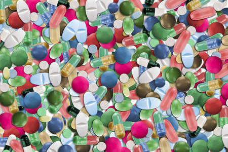 Collage of colorful pills Stock Photo