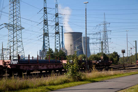 electricity pylons and power plant Lingen Emsland