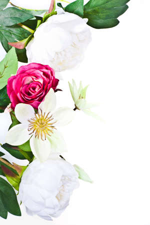Beautiful flowers frame with roses isolated on white background