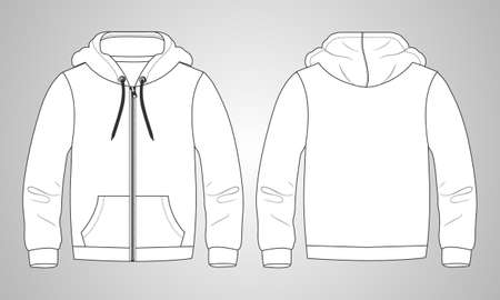 Long sleeve hoodie with Zipper technical fashion Drawing sketch template front and back view. apparel dress design vector illustration mock up jacket CAD. Easy edit and customizable. Vetores