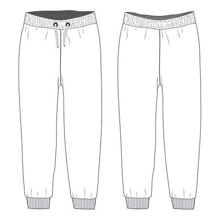 Ladies and Kids Basic Fleece Sweat Pant fashion flat sketch vector Illustration template front and back view. Technical Drawing apparel dress design Jogger pant mock up.