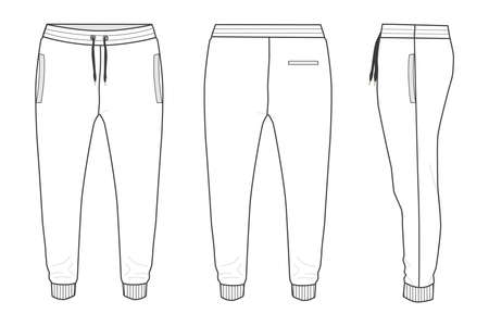 Fleece fabric Jogger Sweatpants overall technical fashion flat sketch vector illustration template front, back and side views isolated on white background.