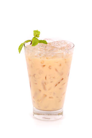 Iced milk tea isolated on white background