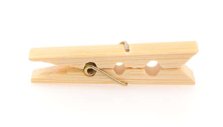 Wooden clothespins isolated on white background