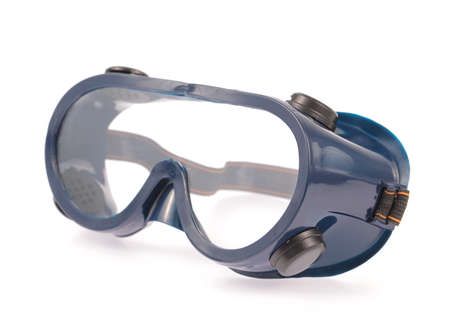 crystalline lens: Safety glasses isolated on a white background
