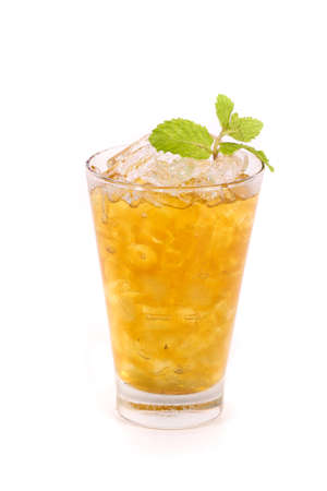 iced lemon tea isolated on white background photo