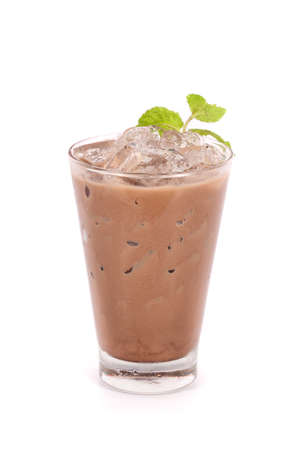 iced cocoa in a glass isolated on white background  Standard-Bild