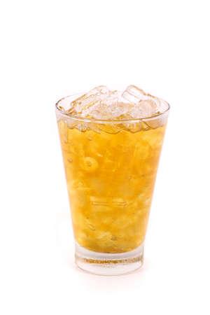 stimulated: iced lemon tea isolated on white background