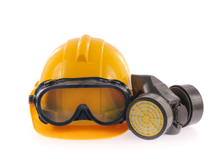 Collection of Helmet, Chemical protective mask and eye protection or goggles on white background photo