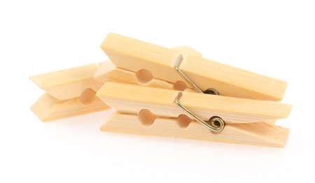 Wooden clothespins isolated on white background Imagens - 31030253
