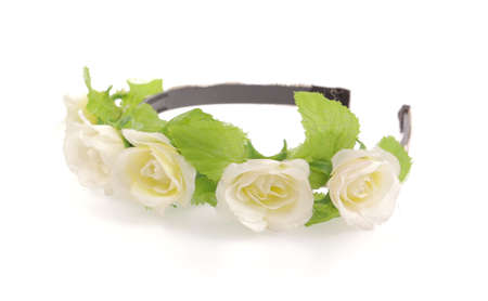 artificial hair: flower headband isolated on the white background Stock Photo