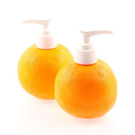 Orange bottle Isolated on white background photo