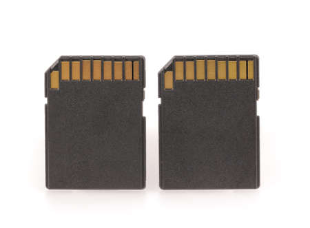 medium closeup: Black SD memory card isolated on white background Stock Photo
