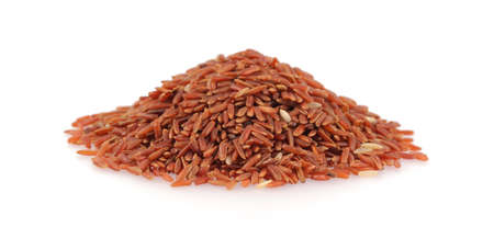 pile of red rice isolated on white background