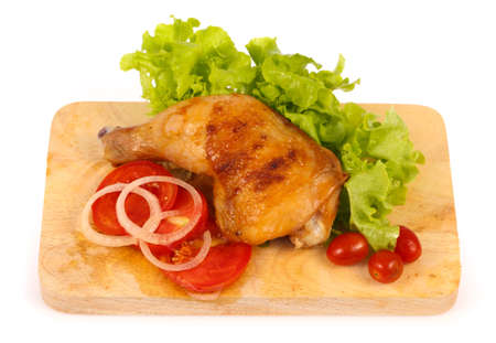 animal leg: Roast chicken leg on cutting board isolated on white background Stock Photo