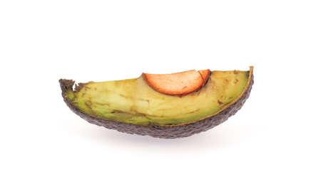 halved  half: avocado isolated on white background