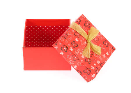 closed ribbon: gift box isolated on white background