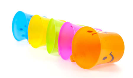 tumbler: plastic cups isolated on white background
