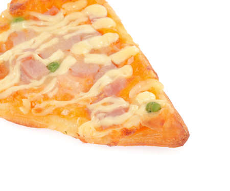 cut off: Cut off slice pizza isolated on white background