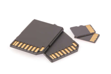 memory card: Black SD memory card isolated on white background Stock Photo