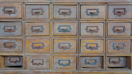 drawers: Rows of old wood drawers