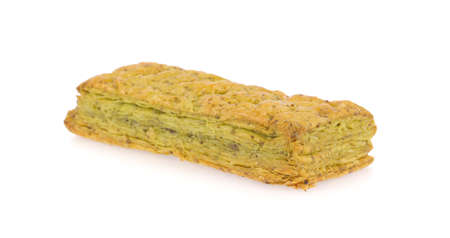 golden section: Green tea pie isolated on white background.