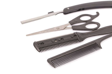 coiffeur: Professional hairdresser tools, isolated on white