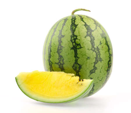 sliced watermelon: yellow watermelon isolated on white background Stock Photo