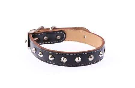 black leather dog collar isolated on white background Standard-Bild