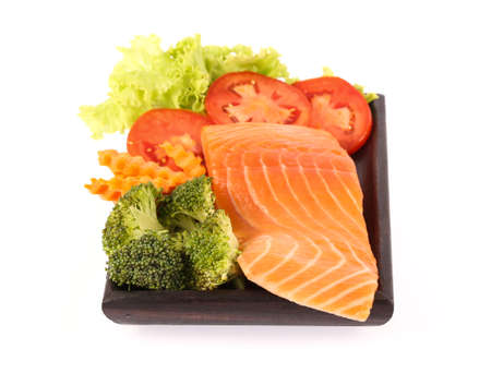 vegetable tray: Salmon meat with vegetable on bamboo tray