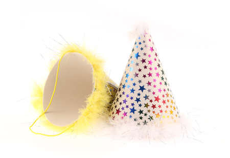 merrymaking: Party hats isolated on white background Stock Photo