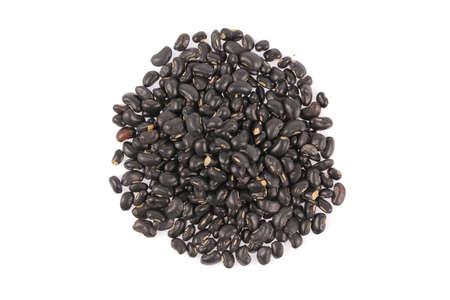 black beans: Pile of black beans isolated on white background Stock Photo