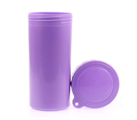 tumbler: Purple Color Plastic And Bottle Water Canteen Tumbler With Cover isolated on white background