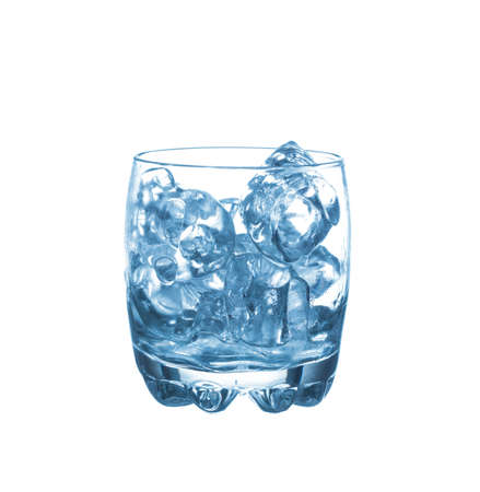 refrigerate: Glass of pure water with ice cubes. Isolated on white background