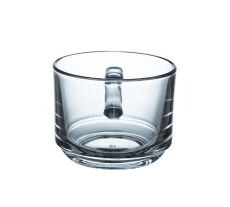 Glass cup isolated isolated on white background.